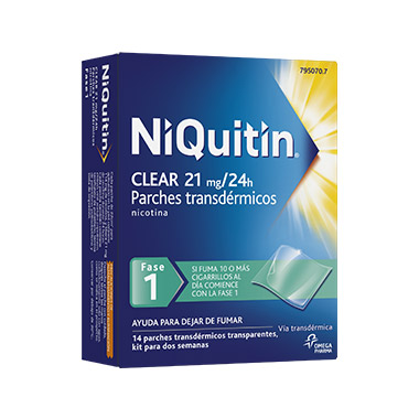 Imagen del producto NIQUITIN CLEAR 21 MG 14 PARCHES TRANSDÉRMICOS